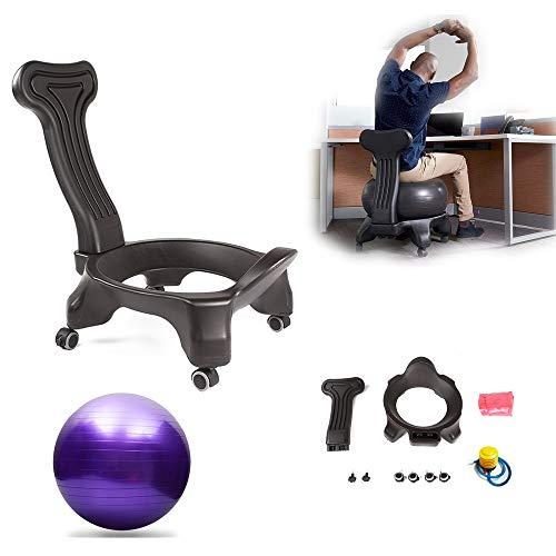 BODODO Ballstuhl/Fitness Ball Stuhl/Balance Ballstuhl, mit Rollen Robuster Sitzball, mit Yoga-Ball, für Zuhause und Büro Schreibtisch, für einen gesunden Rücken