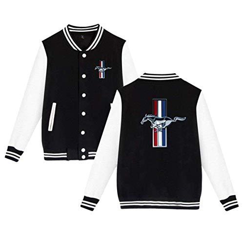 BAOQIN Unisex Mustang Gt Logo Samt Baseball Uniform Jacke Mantel Sweater Sweatshirt