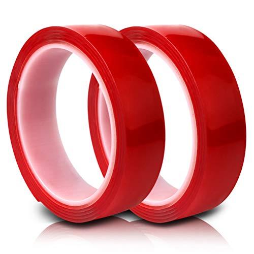 LGYKMU Lavable Adhesiva De Doble Cara Cinta No Trace Gel Transparente Resistente Al Deslizamiento para La Fijación De Alfombras De Baño Fotos De Habitaciones (2 Rollos),6mm*33M