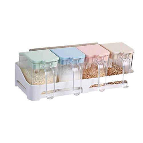 Coolshopy Condimento caja de múltiples funciones de la cocina Sal y Azúcar Condimento Caja de almacenamiento, Hogar con tapa creativa condimento caja, caja transparente de condimento (Color: Claro) Ca