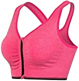 Aarshvi Women Padded Full Coverage Front Zip Closure Non-Wired Strapless Seamless Sports Bra with Removable Pads Pink