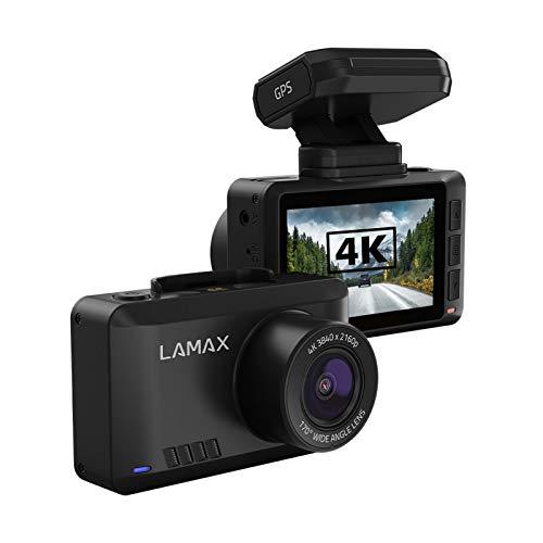 """LAMAX T10 Real 4K Dashcam mit GPS, Radarwarnung (50 Länder), WiFi + Mobile App, Weitwinkelaufnahmen 170°, Magnethalterung, 2,45"""" Display, Full HD 60 FPS, zusätzliche rückwärtige Kamera"""