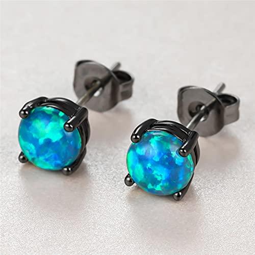 LOKILOKI Bonitos Pendientes De Piedra De Ópalo Azul para Mujer, Pendientes Pequeños De Oro Negro, Pendientes De Boda Redondos De Novia De Lujo para Mujer