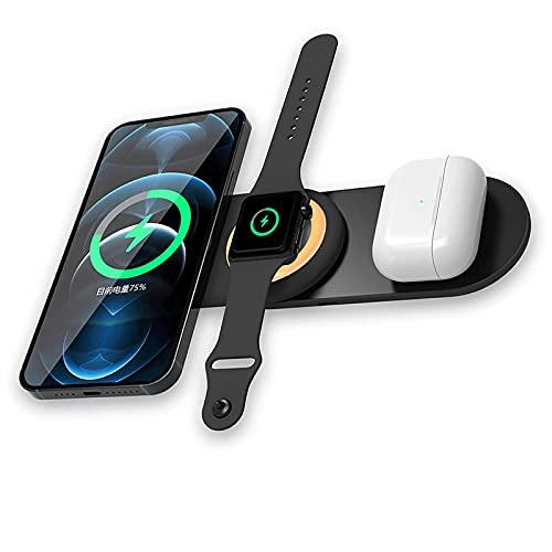 Cargador inalámbrico para teléfono móvil, tres en uno conveniente para llevar auriculares de teléfono móvil y reloj Tablero de soporte de carga inalámbrica, fácil de usar