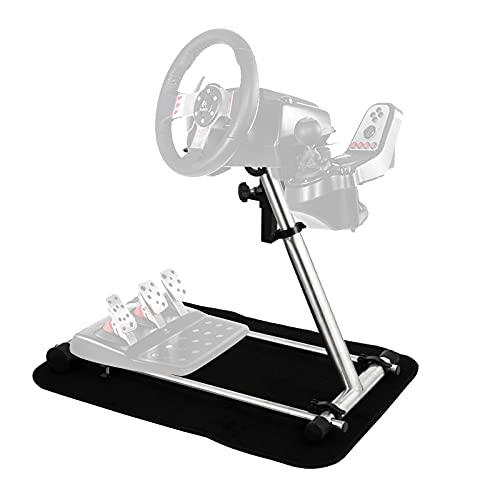 VEV Einstellbarer Racing Lenkradständer für Logitech G27 G25 G29 G920 Edelstahl Racing Simulator Lenkradständer Rahmen Racing Wheel Stand