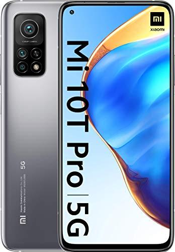 """Mi 10T Pro - Smartphone 8+128GB, display 6,67"""" Full HD+, Snapdragon 865, 108MP AI Triplo-Camera, batteria 5000mAh, Lunar Silver (Versione ufficiale + garanzia 2 anni)"""