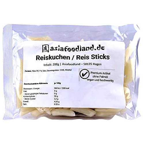 asiafoodland - Reiskuchen natur - Nachfüll Pack - Reis Sticks - Rice Cake - Reisnudeln - für z.B. Tteok-bokki / Topokki, 1er Pack (1 x 200g)