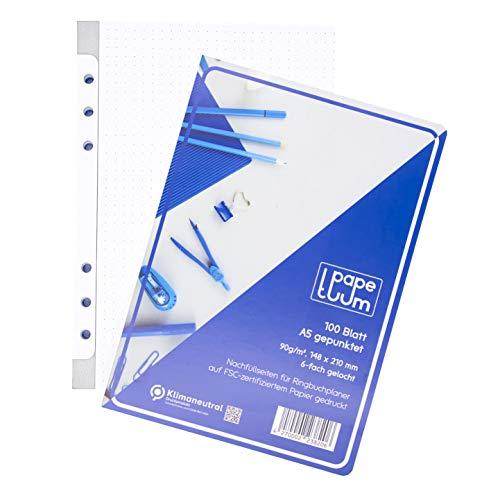 PAPETUUM Hojas para archivador de anillas, A5, 6 orificios, 100 hojas, 90 g/m²