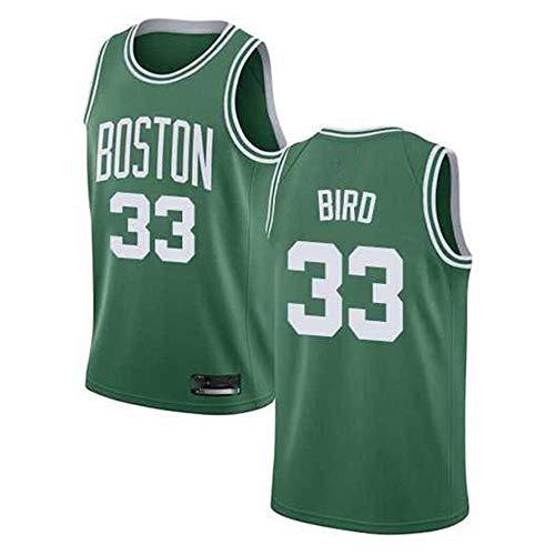 YB-DB NBA Los Hombres de la Camiseta de Baloncesto de la NBA Boston Celtics # 33 Larry Bird Ventilador Jersey, Baloncesto Jersey Uniforme, Malla Chaleco de la Camisa,S (50~65kg)