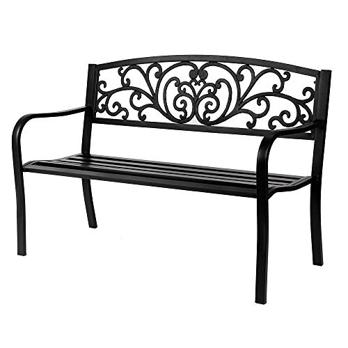 50' Iron Outdoor Patio Park Bench,2-Person Outside Garden Park Bench Furniture,Durable Cast Iron Metal,Black Stripes Decorative Design,Outdoor Seating for Yard, Porch, Deck, Entryway,Backyard