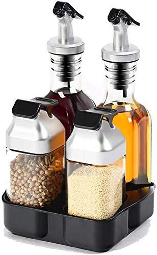 condimentos de 4 piezas y soporte - sal, pimienta, aceite y vinagre Set, 2 x 175ml, 2x90 ml