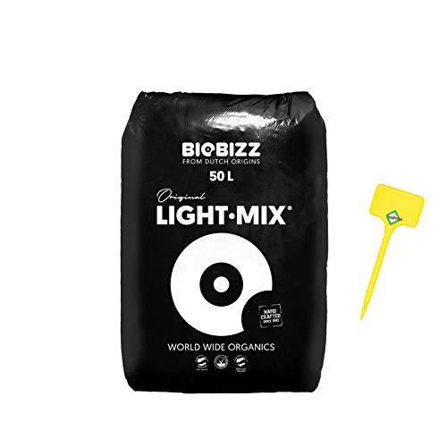 Weedness BioBizz Light Mix Bolsa de 50 litros - Tierra para macetas Crece en Interiores y Exteriores Plantas de balcón Bonsái Palmeras Coco orgánico