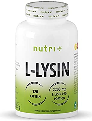 L-LYSINE Highly DOSED - 120 Capsules - Laboratory Tested - Building Block for Collagen & Connective Tissue - L-Lysin Vegan Amino Acid