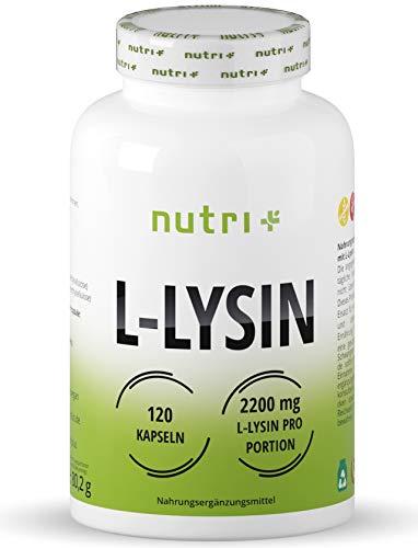 L-LYSIN Kapseln hochdosiert + vegan - laborgeprüft - 120 Caps je 550mg - Baustein für Kollagen & Bindegewebe - Pure L-Lysine Hcl Aminosäure - pflanzlich ohne Magnesiumstearat