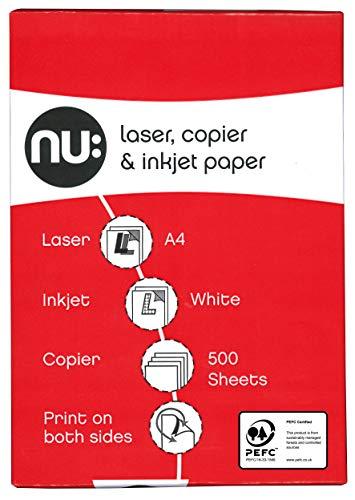 Nu A4 Copier Paper Ream - Wit (Ream van 500) 1 x Polsband A4 Kleur: wit