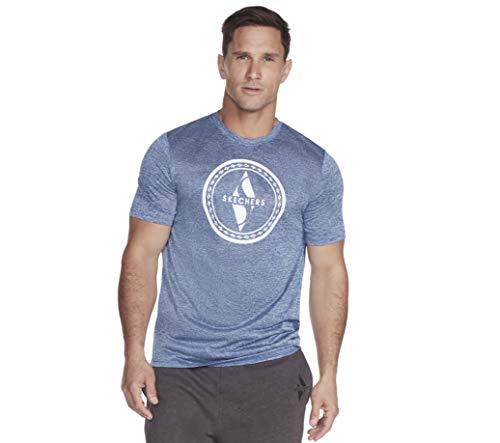 Skechers Men's Tech Tee Shirt, True Blue Diamond Circle Graphic, XL