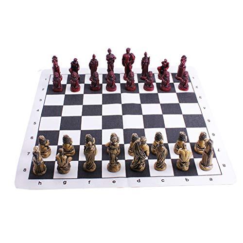 RKL Ajedrez Antiguo de ajedrez Romano Piezas de alojamiento de Caoba de Alta Gama Tabla de ajedrez de Madera sólida Estudiante de Tablero de ajedrez de Adultos Juego de enseñanza de Adultos