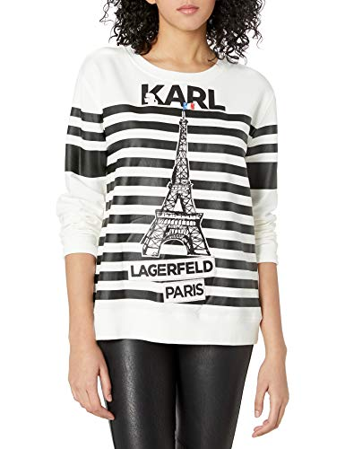 Karl Lagerfeld Paris Damen Stripe Eiffel Tower Sweatshirt T-Shirt, weiß/schwarz, Mittel