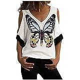 T-Shirt Femmes décontracté col en V imprimé Papillon sans Bretelles Manches Courtes Tee Tops Blouses Bringbring