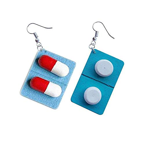 Ogquaton Women's Girls 1 Pair Funny Lovely Capsule-Shaped Pills-Shaped Drop Dangle Earrings Practical and Popular