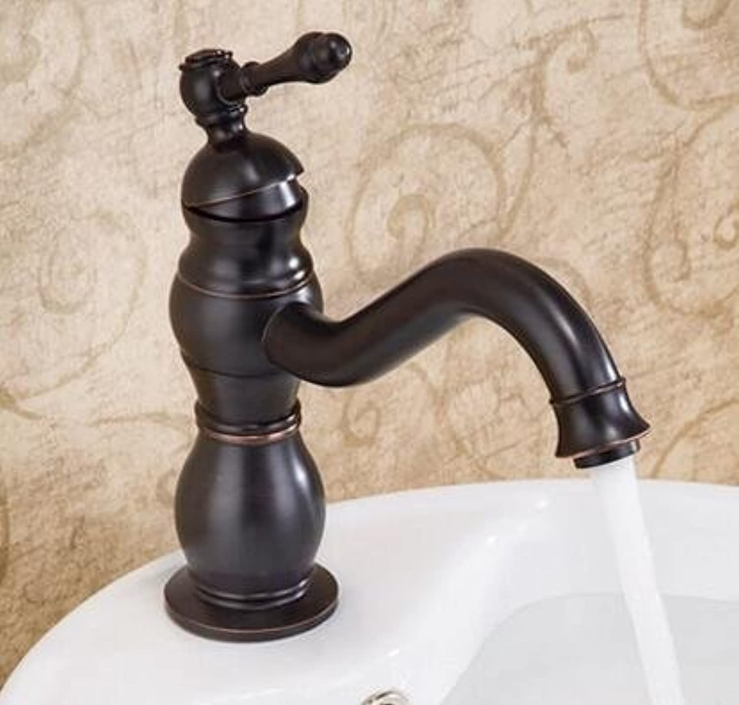 U-Enjoy Black Copper Bathroom Top Quality Faucet Fashion Vintage Hot and Cold Sink Faucet Wash Mixer Sink Faucet Water Tap (Free Shipping)