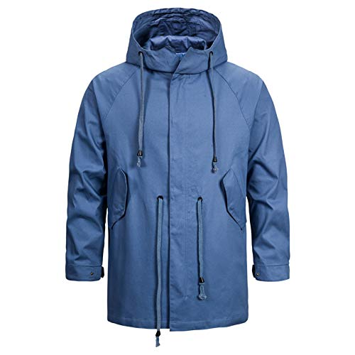 Mr.BaoLong&Miss.GO Autumn and Winter Men Hooded Jacket Men Plus Size Jacket Outerwear Young Men Plus Size Jacket Men Cotton Hooded Jacket Jacket Blue