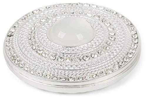 styleBREAKER Damen Magnet Schmuck Brosche rund mit Strass und großer Perle, für Schals, Tücher oder Ponchos, Anhänger 05050082, Farbe:Silber-Weiß