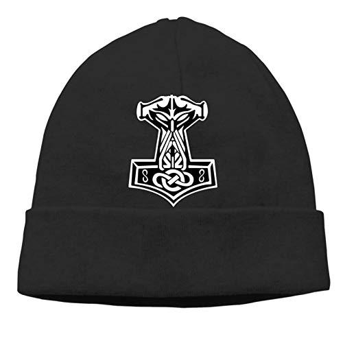 Sweety Men's Beanie Cap in Odin We Trust Thor Vikings Hammer Mjolnir Norse Celtic Black