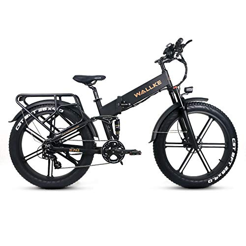 W Wallke X2 PRO Electric Folding Bicycle 26 inch Full Suspension Adult Fat tire Electric Bike 750W Mountain ebike 11.6AH Lithium Battery Magnesium Alloy Integrated Wheel (Matte Black)