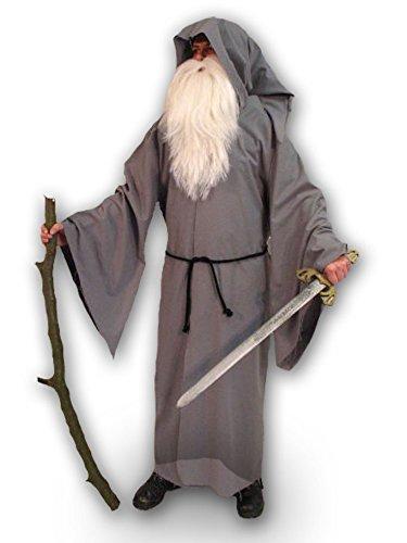 Amakando Déguisement de Mage Cape de Magicien Moyen-âge Cape Costume de druide Manteau à Capuche et Corde accoutrement de Carnaval