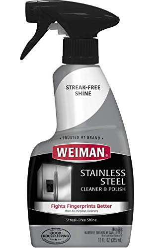 Weiman Stainless Steel Cleaner and Polish Trigger Spray - Protects Against Fingerprints and Leaves a Streak-less Shine - 12 Ounce