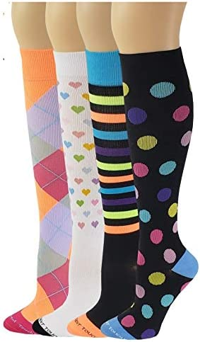 Different Touch 4 Pairs Colorful Graduated Anti Fatigue Compression Knee High Socks 4G product image