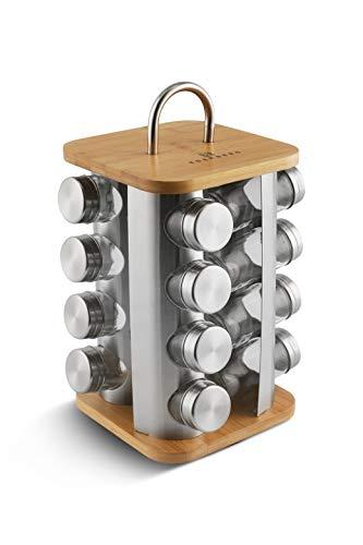 Gewürzkarussell Drehbar 360° - Gewürzregal Stehend mit 16 Gewürzgläsern, Edelstahl und Bambusholz - Modern Küchen Organizer und Dekoration (Braun_1)
