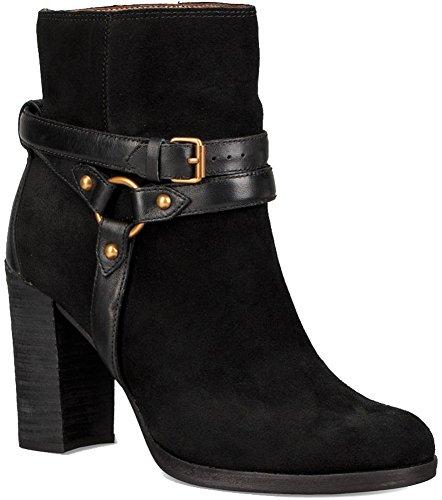 UGG Dandridge Damen Schuhe Stiefeletten mit Absatz Ankle Boots Schwarz Leder 1019010, Größe:37, Farbe:Schwarz