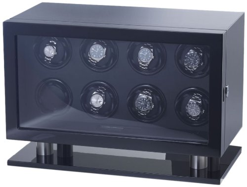 """Raoul U Braun Uhrenbeweger Skyline"""" für 8 Uhren Piano Black / Black Digitales Steuerungsmodul Watchwinder"""