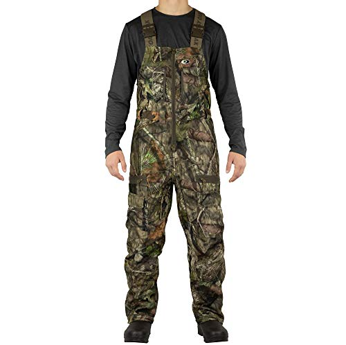 Mossy Oak Sherpa 2.0 Fleece Lined Camo Hunting Bib Overalls for Men, Break-Up Country, Large