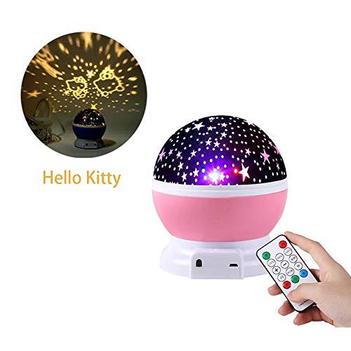 LED-Stern-Projektor-Nachtlicht, 3 in 1 Multifunktions Romantische Projektionslampe Traum Bunte Rotating Bluetooth Audio mit Fernbedienung für Freunde und Kinder,Rosa,Hello Kitty