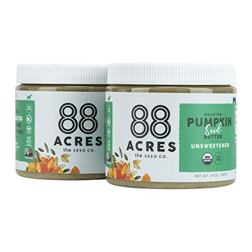 88 Acres Organic Pumpkin Seed Butter | Unsweetened | Keto-Friendly, Gluten Free, Dairy Free, Nut-Free Seed Butter Spread | Vegan & Non GMO | 2 Pack, 14 oz