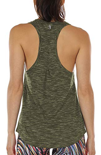 icyzone Damen Yoga Jogging Racerback Tank Top Atmungsaktive Workout Gym Shirt (XS, Army)