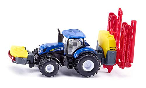 SIKU 1799, Tractor New Holland con pulverizador Kverneland, 1:87, Unidad plegable, Metal/Plástico, Azul