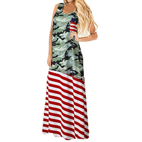 YOCheerful Women Dress American Loose 4th of July Sleeveless T-Shirt Mini Dress Plus Size Dress