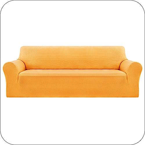 Amazon Brand - Umi Fundas para Sofa Fundas de Sofa Ajustables 4 Plazas Elasticas Anti Gatos Funda Protectora para Salon Amarillo