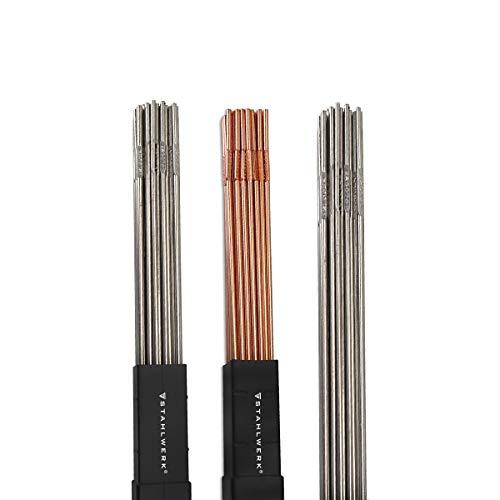 STAHLWERK Schweißstäbe Set ER70S-G3 Stahl & ER307Si Edelstahl hochlegiert & ER4043Si5 Aluminium/Ø 2,5/2,4 x 500 mm/je 1kg WIG Schweißzusatz