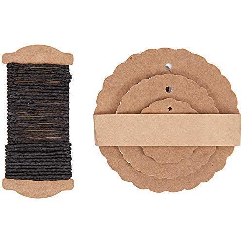 Rosette Form Kraftpapier Geschenketiketten mit Schnur, 3 Größen