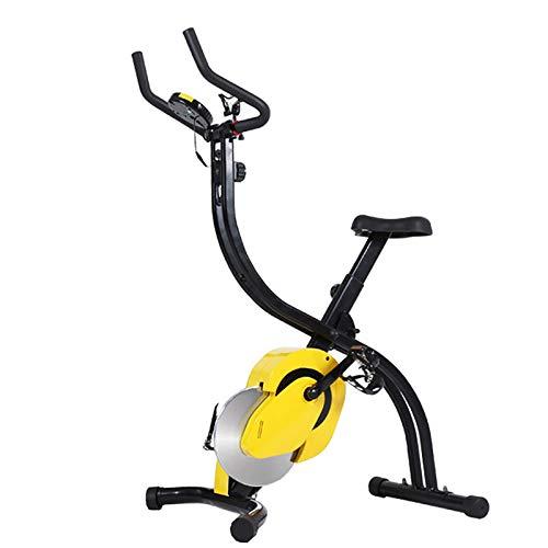 Bicicleta Estática Plegable, Bicicleta Estática de Fitness Multinivel de Resistencia Magnética pantalla LCD, con Monitor Rítmo Cardíaco Rotor de 7 kg para atletas y mayores