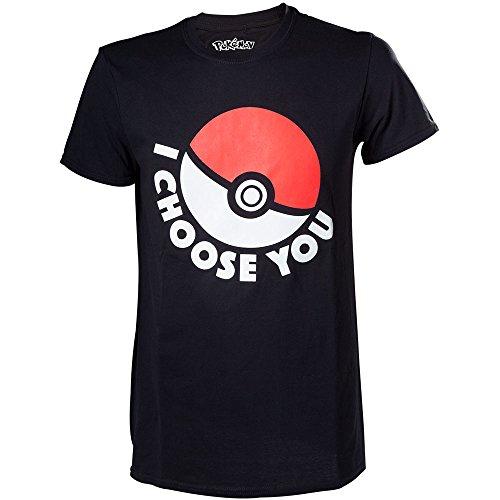 Meroncourt Herren T-Shirt Pokemon I Choose You, Schwarz (Black), XL