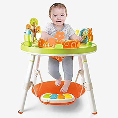 3 In 1 Jumpers and Activity Centers, 360-degree Rotating Seat with Pedals, Function Baby Activity Table Learning Walker with Toys and Music, Sit-to-Stand Activity Center for Toddlers (Multicolour)