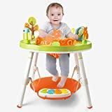 Toddler Activity Centers, 3-in-1 Multi-Function Interactive Baby Fun Activity Work Bench, Baby Joy Jump Rocking Chair with Toy Tray, Pedal Piano & Jumping Board for Children's and Infants