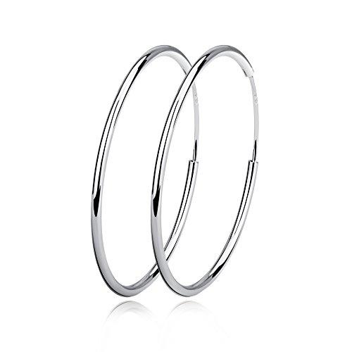 Creolen Ohrringe Damen Sterling Silber Huggie Kreolen Groß Rund Hängend Klapp-Creolen Ohrhänger für Frauen Mädchen Schmuck Durchmesser 20mm