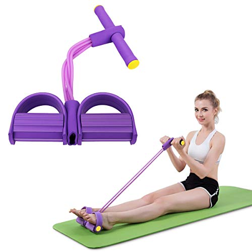MoKo Pedal Resistance Band 4-Tube, Pedal Resistance Band with Handle Fitness Elastic Pull Rope for Abdomen Waist Arm Yoga Stretching Slimming Training Sit up Resistance Band for Home Workouts - Purple